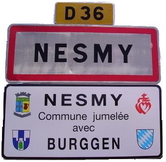 Panneau à l'entrée de Nesmy avec Burggen - NESMY -F85310